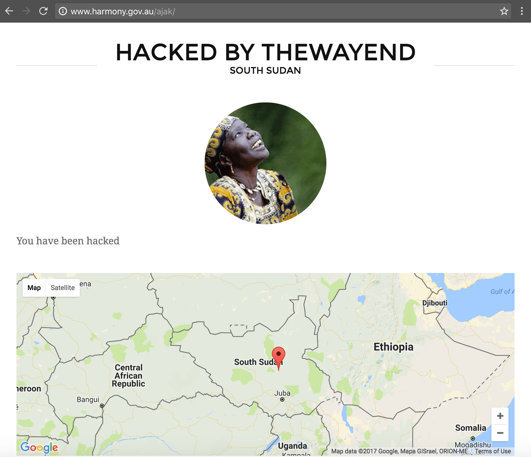 "Screenshot of harmony.gov.au hacked by ""THEWAYEND"""