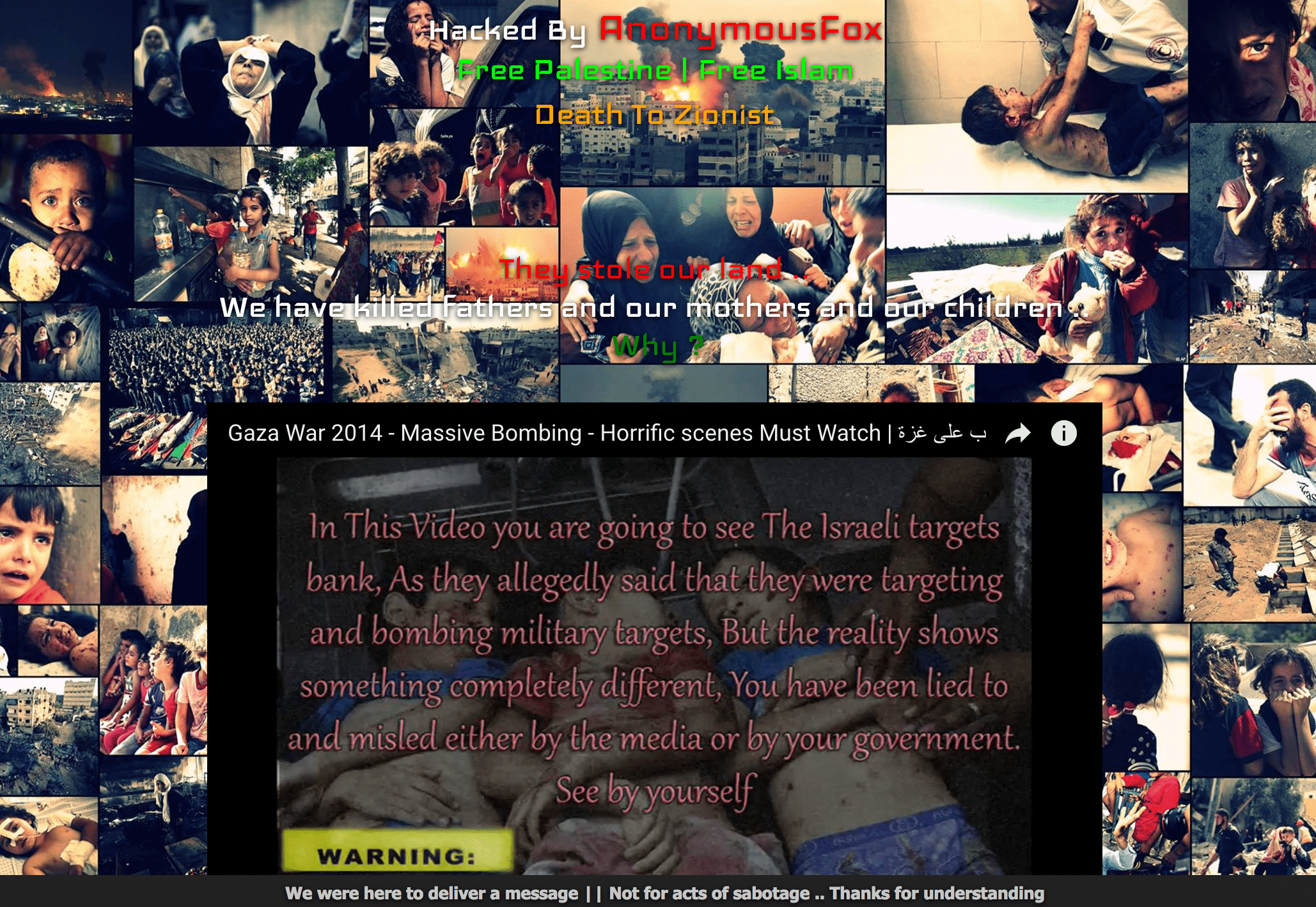 Screenshot of the deface page uploaded to all 82 websites on the Kazakhstan server hacked by AnonymousFox