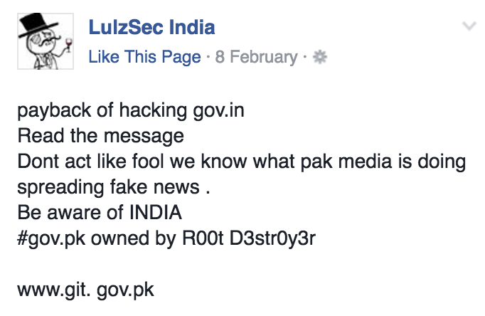 Screenshot of official statement by the hacking group, Lulzsec India