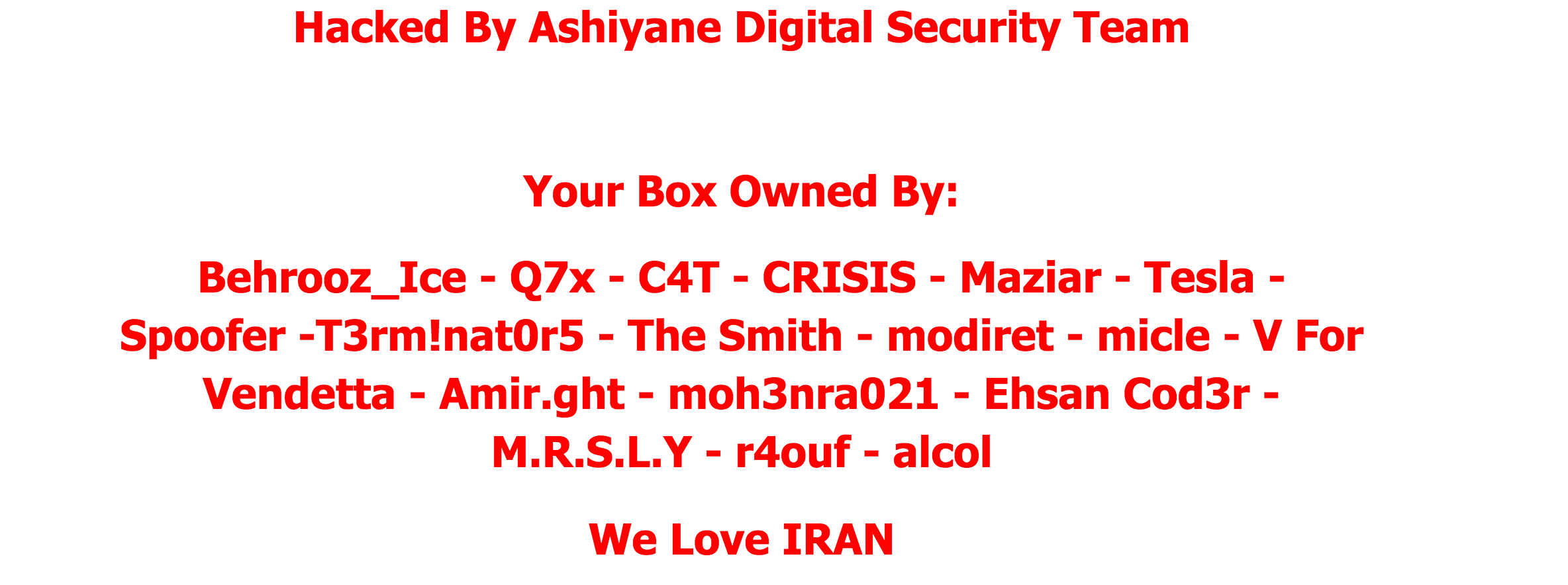 Screenshot of defacement uploaded to all Ukrainian websites by Ashiyane Digital Security Team