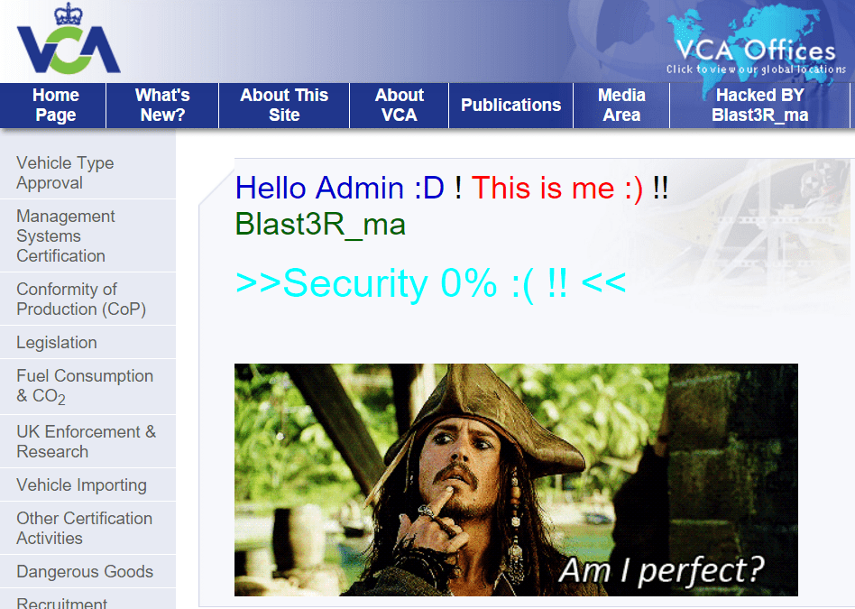The UK's Official Vehicle Certification Agency (VCA) Website Hacked by Blast3R_ma