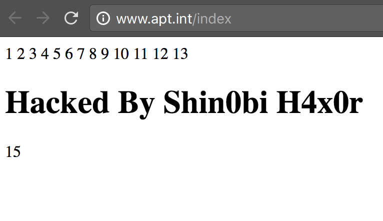Screenshot of www.apt.int hacked by Shin0by H4x0r