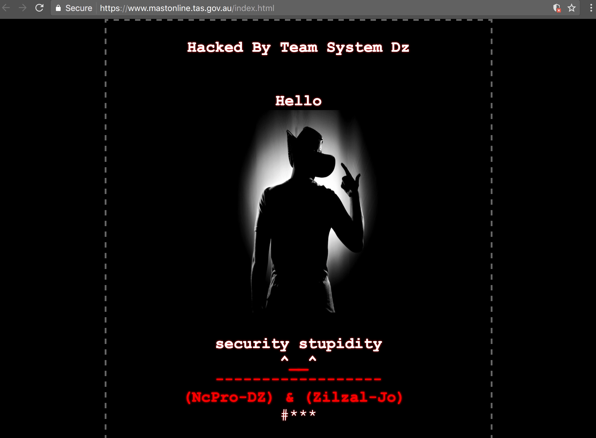 Screenshot of www.mastonline.tas.gov.au defaced by Team System Dz