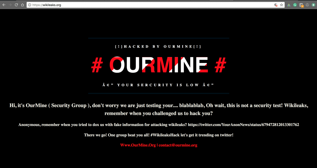A screenshot of WikiLeaks website wikileaks.org hacked and defaced by OurMine