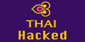 An image of Thai Airways logo with a Hacked text.