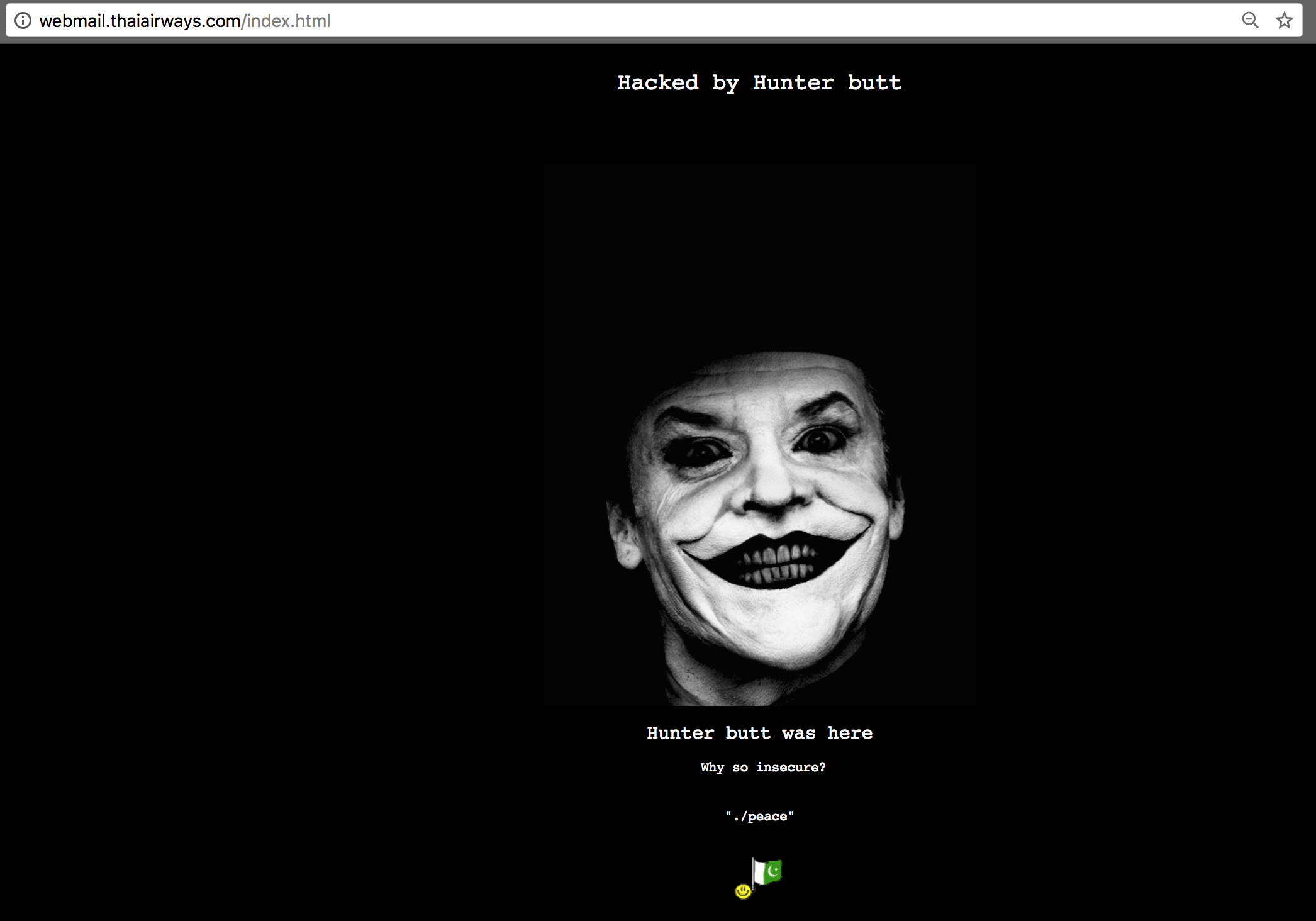 A screenshot of Thai Airways subdomain hacked and defaced by a Pakistani hacker named Hunter Butt.