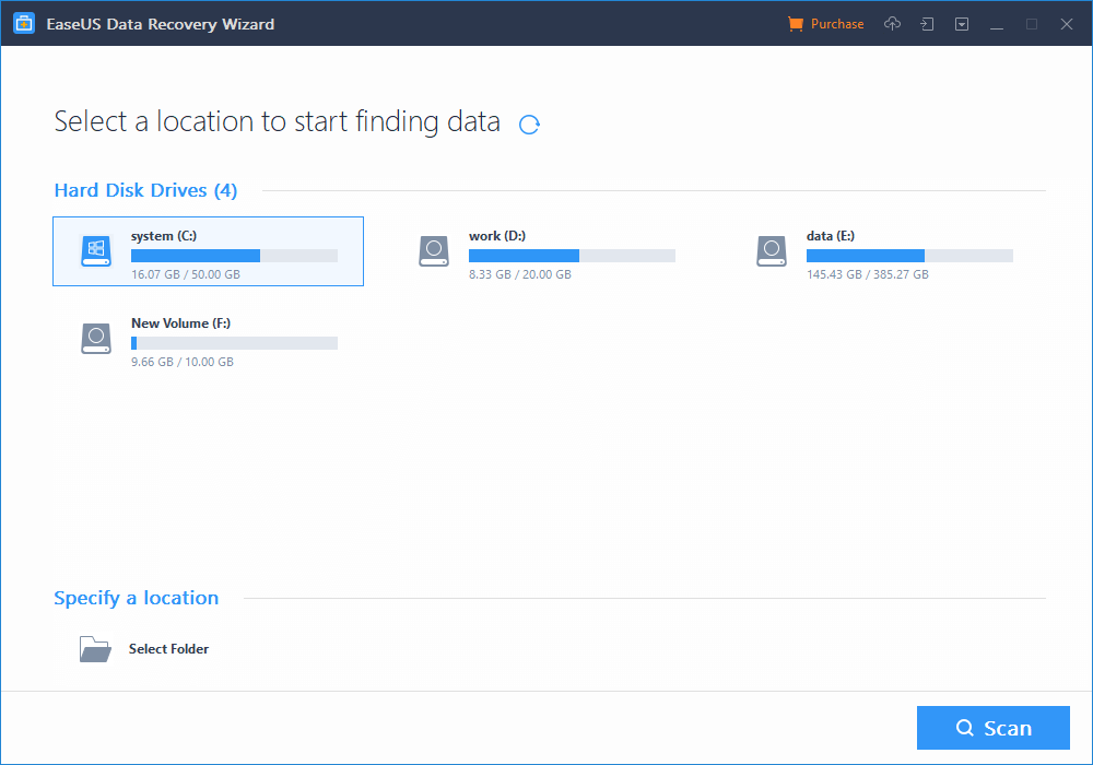 EaseUS Data Recovery-select a location